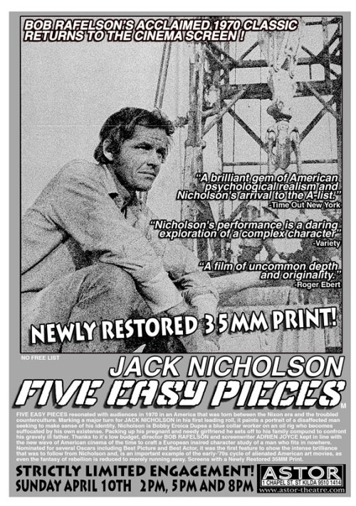 Astor Theatre Five Easy Pieces flyer